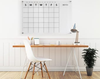 Acrylic Calendar LARGE SIZE w/side notes - Dry Erase Calendar -  Lucite Calendar