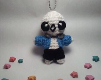Crochet Sans from Undertale Keychain - Undertale Plushie, Sans Plushie, Undertale Sans, Sans Keychain,  Skeleton Doll, Skeleton Plush, Gamer