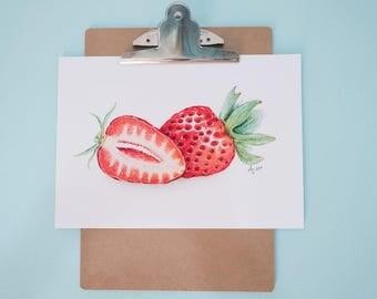 Strawberry Art Print, Realistic Art