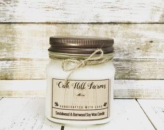 SANDALWOOD-BARNWOOD, soy wax candle, woody lush aroma, hand poured, all natural, eco friendly, mason jar candle, sandalwood, barnwood