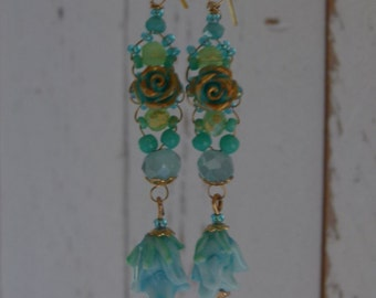 Romantic earrings with rose 09