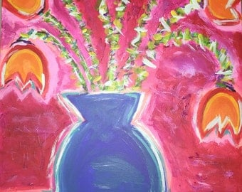 Orange Tulips in a Cobalt Vase
