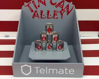 Tin Can Alley, Carnival Game, Target Gallery, company picnic,Lawn Game, tin can toss, baby shower Game, Corporate Game, carnival theme party