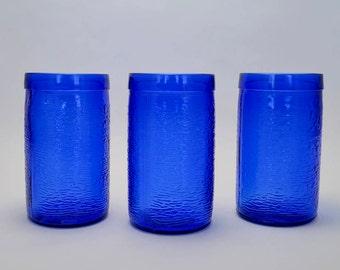 Cobalt Blue Gelado Brazil Juice or Water Glasses, Glass Tumblers - Set of 3