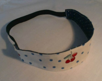 children's headband/ reversible/ cotton/girls birthday/girls gifts/girls headband/cherry headband/blue headband