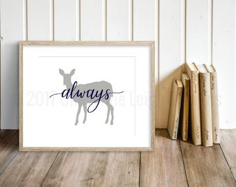 Always Doe Patronus Print, Harry Potter Wall Art, Gray and Navy Blue Nursery Print, Kids Room Decor