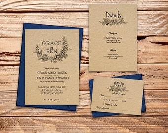 simple floral Printable Wedding Invitation Set