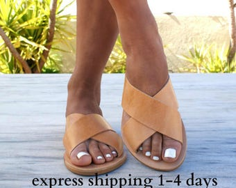 ERIS sandals/ ancient Greek leather sandals/ slide sandals/ classic leather sandals/ handmade sandals/ summer sandals/ criss cross sandals