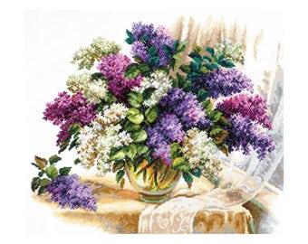 Counted Cross Stitch Kit - Scent of lilac (Wonderful needle) - Floral cross stitch pattern - Flowers cross stitch - Gift kit