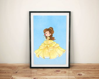 Beauty and Beast Print-Printed Beauty and Beast-Disney Belle Art-Kids Disney Belle-Disney Belle Prints- Disney Belle Prince Print