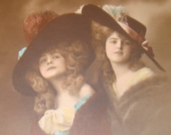SALE Vintage Hand Tinted RPPC of 2 Pretty Ladies Wearing Hats # 2