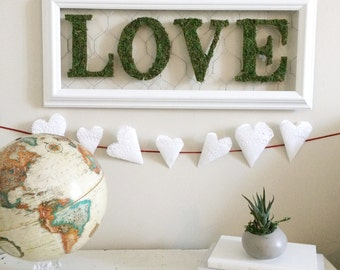 Reclaimed Frame Mossy Love Sign