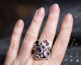 Glorious amethyst and silver vintage dress ring - statement piece extraordinaire!