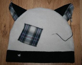 Cap with cat ears, neko, cosplay, light grey, black