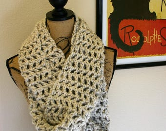 Lacy Tweed Crochet Infinity Scarf