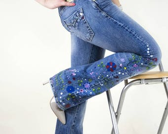 Hand Painted boho jeans US 10/ EU 40/ UK 12, Bootcut women's painted clothing Flowers handmade festive spring summer wear handpainted