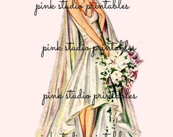 A Vintage Bride, PNG  Printable image (digital download, printable)