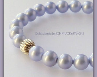 Bracelet - shell pearls - light blue