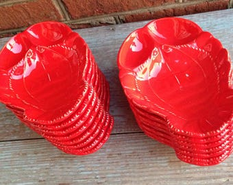 Set of 15 mid-century appetizer lobster plates