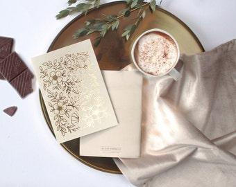 Pocket Notebook Gold Foil / Real Gold Foil / Elegant Notebook / Friend Gift / Floral Planner / Botanical Weekly Planner / Planner