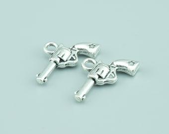 50pcs 11x21mm Antique Silver Gun Charm Pendants,Weapon Charm Pendants ZLJ012