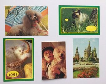 Set of Soviet calendars, 1991,1984,1982 , small calendars, the Soviet Union, unsigned cards, beautiful cards,annual calendars