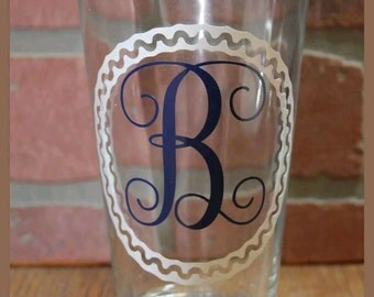 Personalized Monogramed Drinking Glass