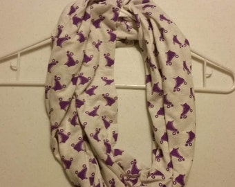 Infinity Scarf - White with Purple Roller Skates