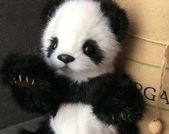 Teddy bear Panda.Soft toy handmade Teddy.Collectible toy.