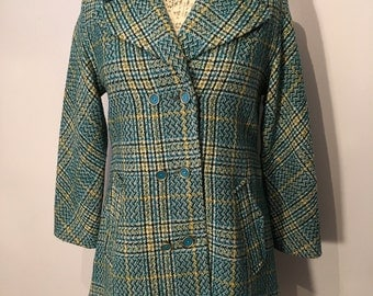 Vintage 1960s Style Blue and Yellow Tweed Coat, Size 34 / S - Made in Mexico