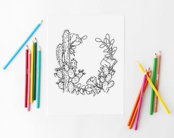 succulent coloring page cactus coloring floral wreath print floral coloring page adult coloring page printable coloring book