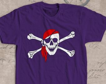 angry skull shirt,crossbones shirt, pirate flag shirt, Jolly Roger shirt, eye cover, skull t shirt, skeleton shirt, pirate shirt flag