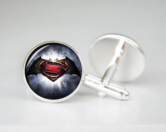 Batman Cufflinks, Superman Cufflinks, Custom Comic, Superhero Symbol, Personalized, Batman jewelry, Batman accessories, geek
