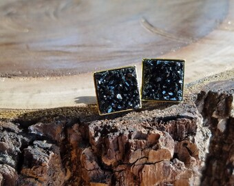 12mm Faux druzy black square studs, chunky, gold plated, setting
