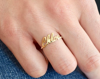 Gold Name Ring - Gold Ring - Name Ring - Name jewelry - Custom Name Ring - Bridesmaid Gift - Personalized Ring - Ring - Valentine's Day Gift