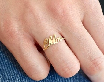 Gold Name Ring - Gold Ring - Name Ring - Name jewelry - Custom Name Ring - Bridesmaid Gift - Personalized Ring - Ring - Mother's Day Gift