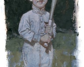 Ty Cobb baseball portrait in colored pencil and acrylics illustration  art by CF Payne