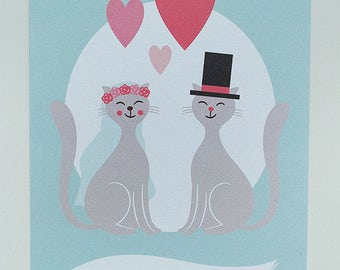 Personalized Wedding Greeting Card - Cats - Bride & Groom