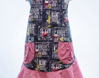 Wine Country Apron, fun and flirty Aprons, vintage and Retro Aprons