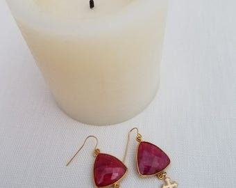 Fuchsia Dangle Earrings with Crosses