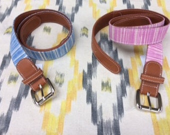Hand Made Leather and IKAT Fabric Belts for Children and Adults.
