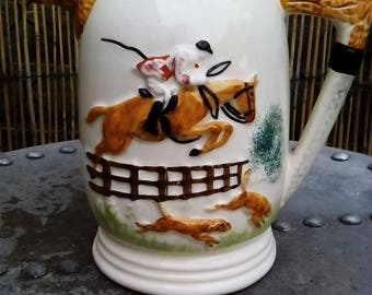 Vintage fox hunting hounds water pitcher, ale jug, Portland pottery, ppc England, hunting theme, collectors jug