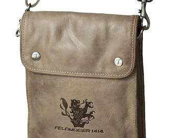 Beige shoulder bag made of genuine leather, by Feldmoser1414, made in Austria