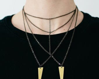 Bib Necklace in Gunmetal with Brass Charms: With Teeth