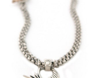Swallow, Tattoo Inspired Pendant, Sterling Silver, on a Double Chain