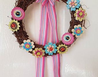Gorgeous Pink Folk Inspired Garland, wreath, floral, flowers, decor, door decor, plaque, gift, decoration