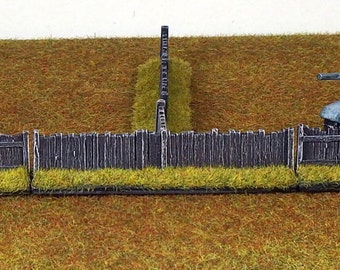 15mm Scenery Rural Fence Set x8 Pieces - Painted