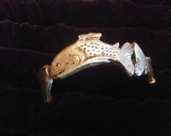 Sterling Silver Cutthroat trout bracelet. !4kt or 18kt price upon request