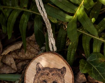 """Totem grigri """"Animal head"""" (customizable) - Nature, eco-friendly lucky charm in pyrogravated wood, protection"""