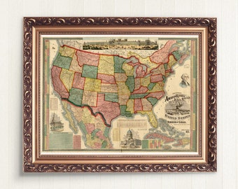 Instant Map Download - Antique UNITED STATES Railroad MAP 1875 - 300 dpi - Shows All The Railroad Lines U.S. Map with States U.S. America